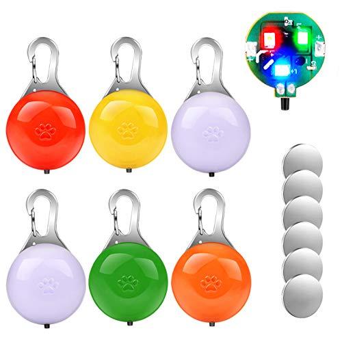 morpilot 6 PCS Sicherheits Clip-On LED Blinklicht für Hunde, Katzen, LED Licht Leuchtanhänger Schlüsselanhänger 3 Blinkmodis, wasserdichte Sicherheit Haustier Lichter (6 Zsätzliche Batterien)