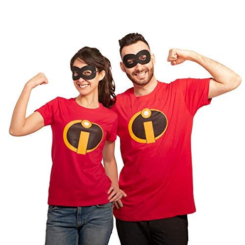 Karnevals Comic Superheld und Superheldinnen Partnerkostüm mit Shirt und Maske Mann Rot L/Frau Rot L
