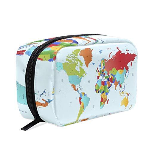 Color World Map Trousse de maquillage Trousse de toilette Trousse de toilette Trousse de voyage pour femme Organiseur portable Pochette de rangement