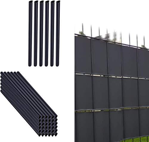 Alaskaprint 50x Befestigungsclips Sichtschutz Klemmschienen für Sichtschutzstreifen Doppelstabmatten Garten Klemmstreifen zur Befestigung von Sichtschutzstreifen Sichtschutzfolie Zaunfolie Anthrazit