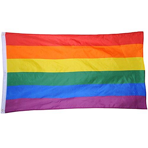Ouinne LGBT Pride Fahne Flagge Regenbogenfarben Lesbian Gay Parade Home Dekoration, 5 x 3 ft/ 150 x 90 cm (1)