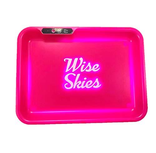 Wise Skies Pink Glow Tray Smoking Rolling Tray Travel Bag LED Rolling Stash Tray