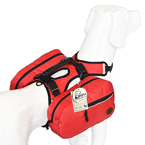 Saddle Bag Backpack for Large Dog, Detachable Pack Instantly Turns into Harness, Adjustable Tripper Hound Saddlebag Travel Hiking Camping