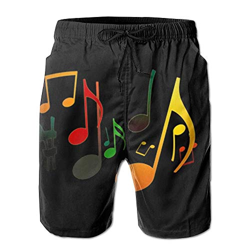 Harry wang Music Note Men's Summer Surf Swim Trunks Beach Shorts Pants Quick Dry with PocketsSize L
