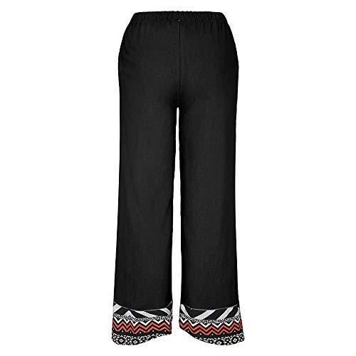 Pantalones de algodón y Lino Ocasionales Estampados en Verano de Estilo Europeo y Americano para Mujer Pantalones Anchos de Moda