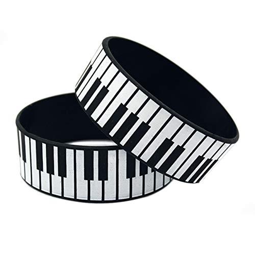 2 Stücke Piano Schlüssel Silikon Armband Hip-Hop Punk 1 Zoll Breiter Armband Punk Inspirieren Fitness, Basketball, Sportsuche, Übung Und Aufgaben