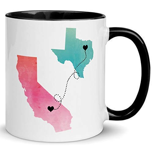 Customizable Long Distance Coffee Mug, Custom Personalized Quote, States and Countries, Relationship Gift, Best Friends, Friendship, Boyfriend, Girlfriend, Lover Present, 11oz or 15oz