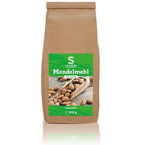 Schoefer Bio Mandelmehl Teil-Entölt - Helles Mandelprotein als Weizenmehlalternaive – Glutenfrei – Vegan – Eiweißprotein für Low-Carb-Ernährung – 500g