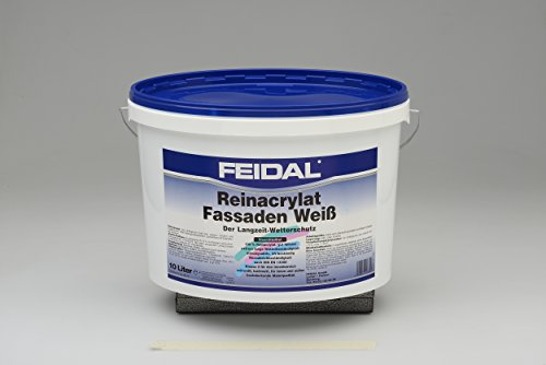 Feidal puur acrylaat gevelverf, wit, 10liter container