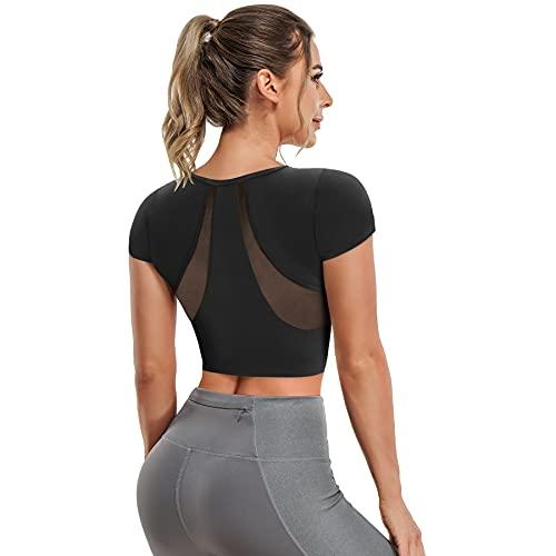 T-Shirt de Sport Femme Top de Yoga Débardeur Sport à Manche Courte en Maille avec Soutien-Gorge intégré pour Gym Fitness (Noir, S)