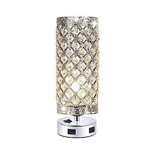 ACELEY Lámpara de mesa de cristal con 2 puertos de carga USB duales, moderna lámpara de mesita de noche, lámpara de mesa decorativa para dormitorio, sala de estar