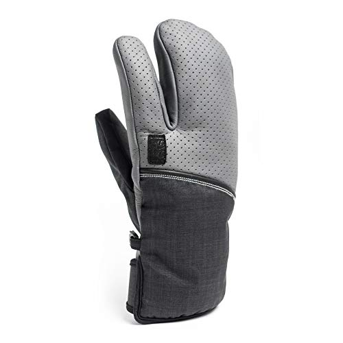 ESC Gloves VEXO Ski & Snowboard Insulated Waterproof Leather Mitten Featuring The HOT Box? - Grey &...