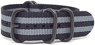 Zulu Strap Black & GRAY 22mm, PVD 5-Rings