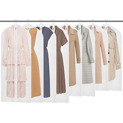 Fundas de Ropa para Almacenamiento (60 cm x 137 / 128 / 100 cm) , 8PCS PEVA a prueba de fundas para la ropa bolsa para ropa, Full cremallera bolsa para traje, lavable transparente funda para vestidos