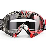 BATFOX Motorcycle ATV Goggles Dirt Bike Motocross Safety ATV Tactical Riding Motorbike Glasses Goggles for Men Women Youth Fit Over Glasses UV400 Protection Shatterproof(Red transparent) …