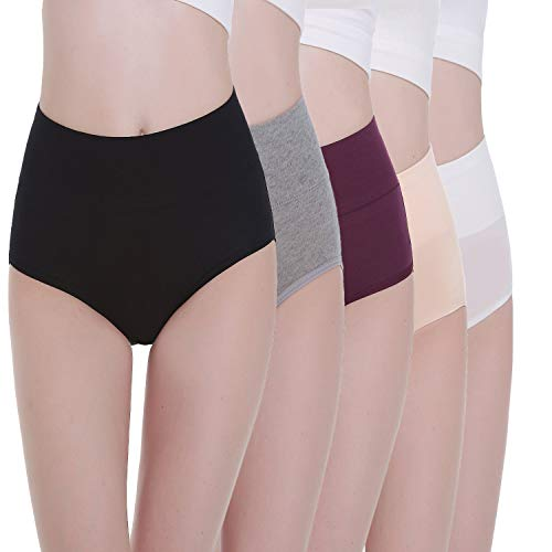TUUHAW Braguita de Talle Alto Algodón para Mujer Pack de 5 Culotte Bragas de Cintura Alta Cómodo Talla Multicolor-1 L