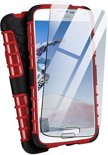 MoEx® Panzer-Schutz Set - Tank Hülle + Schutzglas passend für Samsung Galaxy S5 | Gehärtetes Glas + Extrem robuste Double-Layer Hülle, Rot Schwarz