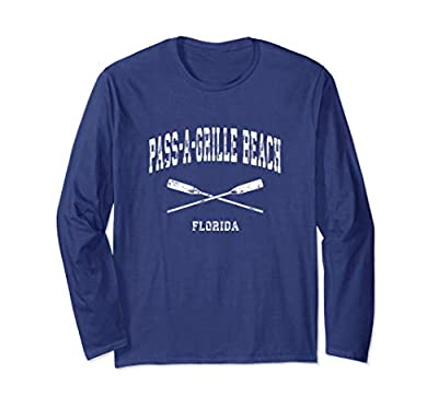 Pass-A-Grille Beach Florida Vintage Nautical Crossed Oars Long Sleeve T-Shirt