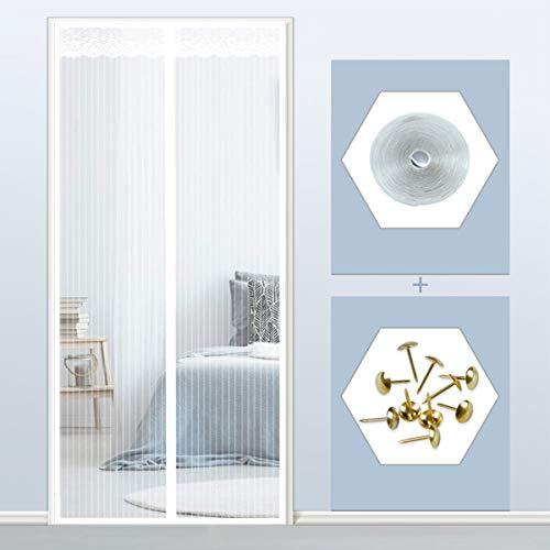 THAIKER Corredera Cortina Mosquitera Magnética, 80x220cm(31x87inch) Mosquiteras para Puertas Magnética Automático Mantiene los Mosquitos de Insectos Fuera para Balcones, Blanco
