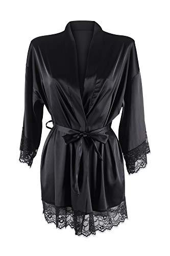 MyLady Damen-Morgenmantel aus Satin-Polyester mit Seideneffekt – eleganter Bademantel für Braut und Nachthemd mit V-Ausschnitt und Gürtel – Pyjama Kimono kurz, Schwarz L/XL