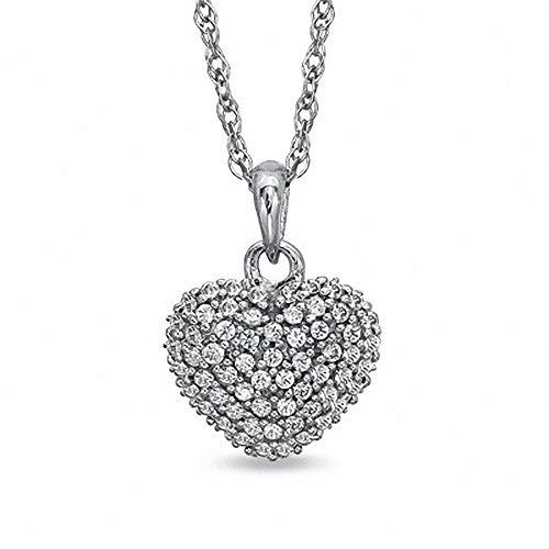 Ani's 3/4 CT. T.W. Clear D/VVS1 Diamond Heart Pendant For Women W/18' Chain In 925 Sterling Silver
