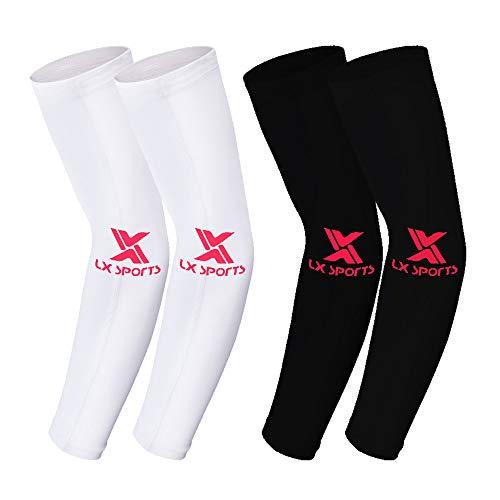 2 Paar Sommer Eisseide Arm Sleeves Armwärmer Ärmlinge Kompression Bandage rutschfest Anti UV Running Radsport für Damen Herren (Schwarz+Weiß)