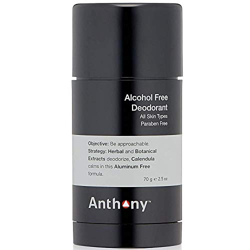 Anthony Alcohol Free Deodorant 2.5 Fl Oz, Contains Calendula, Wild Mint, Herbal and Botanical Extracts, Aluminum Free, Deodorizes and Cools Underarm Skin For All Day Protection