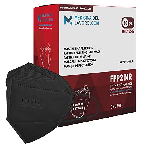 20 FFP2 Maske Bunt Schwarz CE Zertifiziert, Medizinische Mask mit 4 Lagige Masken ohne Ventil, Staub- und Partikelschutzmaske, Atemschutzmaske mit Hoher BFE-Filtereffizienz≥ 95 - 20 Stück