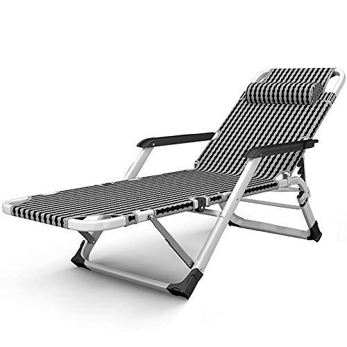 Tumbona Tumbona de jardín Plegable reclinable Oficina Almuerzo Cama Balcón Silla de Playa Playa Camping Lazy Couch Silla Silla portátil, Carga 200 kg (Color: A)