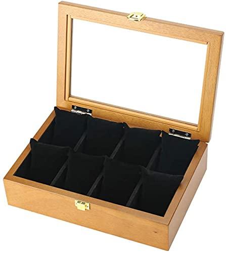 Reloj Box / Reloj de madera Caja de almacenamiento con cerradura / Cojín Muñecas Hombres y Mujeres Decoraciones Pulsera Colección Colección Caja de almacenamiento, 8 Ranura de reloj, PlayaReR1