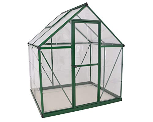 Palram HG5504G Hybrid Hobby Greenhouse, 6' x 4' x 7', Forest Green 6 Virtually unbreakable 4 mm twin-wall polycarbonate roof panels block up to 99.9% of UV rays and diffuse sun light eliminating the risk of plant burn and shade areas Crystal clear polycarbonate side panels provide 90% light transmission Rust resistant aluminum frame with 84 sq. feet of growing space