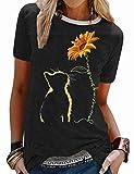 FEMLE Camiseta con Estampado gráfico de Girasol de Gato Lindo para Mujer Tops de Novedad de Manga Corta