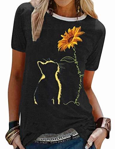 Dresswel Damen Katze T Shirt You Are My Sunshine Sonnenblume T-Shirt Rundhals Kurzarm Tshirts Sommer Tops Elegante Oberteile Hemd Bluse