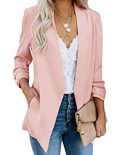 Ofenbuy Womens Casual Blazer Ruched 3/4 Sleeve Open Front Relax Fit Office Lightweight Cardigan Jacket Blazers (Small, Light Pink)
