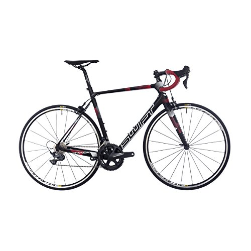 SwiftCarbon Attack G2 Endurance Carbon Rennrad Schwarz Rot Full Ultegra, Mavic Aksium Elite, Ritchey Sattelstütze, Lenker und Vorbau, Fizik Antares R7 Sattel