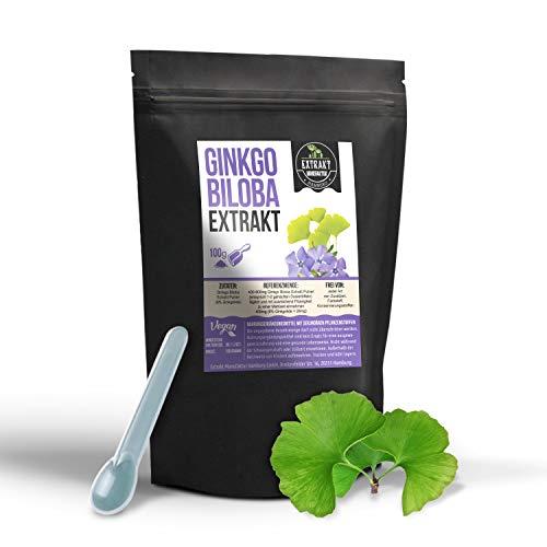 Ginkgo Biloba Extrakt | 6% Ginkgolide 24% Flavones | 100g PULVER | ohne Zusatzstoffe und laborgeprüft | hochdosiert, 100% vegan & in Deutschland abgefüllt (Pulver 100g)