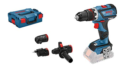 Bosch Professional 18V System Akku-Bohrschrauber GSR 18V-60 FC (inkl. 4x Aufsätzen, ohne Akkus und Ladegerät, in L-BOXX) - FlexiClick System