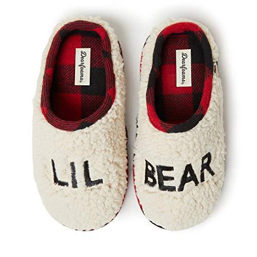 Dearfoams Kids' Family Collection Lil Bear Fluffy Sherpa Toddler & Kids Clog Slipper, 2-3 Medium US