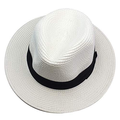 Fannyfuny-Chapeau de Paille Panamas Protection Solaire Unisexe Respirant Pliable Chapeau de Soleil Mode Élégant Tissage Tissu à Mailles Casquette pour Été Plage Voyage