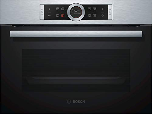 Bosch CBG635BS3 Serie 8 - Horno de vapor compacto para empotrar (A+, 47 L, acero inoxidable, puerta abatible, pantalla TFT, 13 tipos de calefacción, AutoPilot 10, EcoClean Direct, SoftClos/SoftOpen