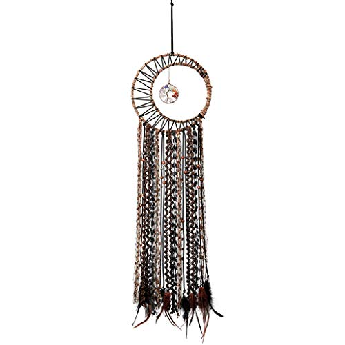 Mangsen 7 Chakra Tree of Life Dream Catcher Large Handmade Boho Moon Feather Tassel Wall Art Hanging Ornament Craft for Bedroom Living Room Dorm Decor