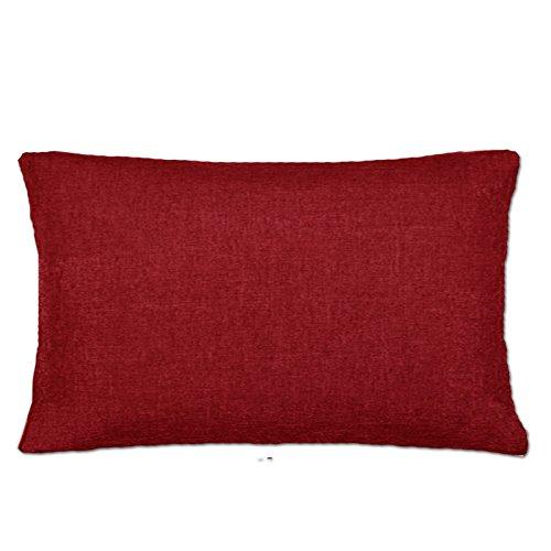 JEMIDI, federa per cuscino in 3 misure, effetto lino, Poliestere, Colore: rosso, 40 cm x 60cm