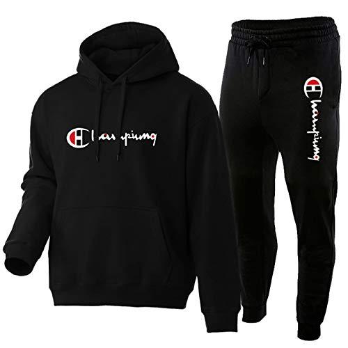 Trainingsanzug Herren, Baumwolle Sweatshirt Und Hose, Sportanzug Herren Hoodie and Jogginghose(s-3xl) Black-XXXL