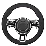 PPIEGER Cubierta de Volante de Coche de Gamuza Negra Cosida a Mano, para Porsche Macan Cayenne 2016 2015