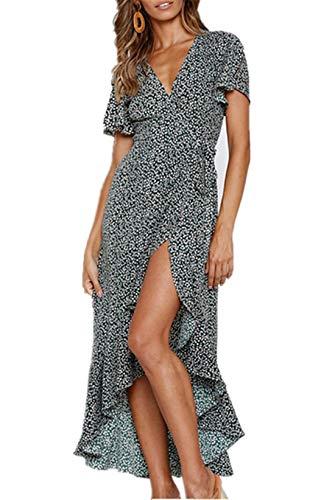 Cyiozlir Damen Kleider Boho Sommerkleid V-Ausschnitt Maxikleid Kurzarm Wickelkleid Strandkleid Lang mit Schlitz (Schwarz, Large)