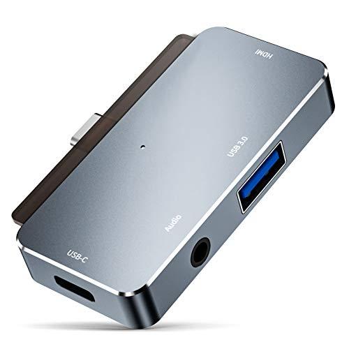 LTLJX Hub USB C 4 en 1 Adaptador USB C a Adaptador Multipuerto 2 USB 3.0, Type C, 3.5mm Audio Jack, Compatible con MacBook Pro 2019/2018 y Otros Dispositivos Tipo C