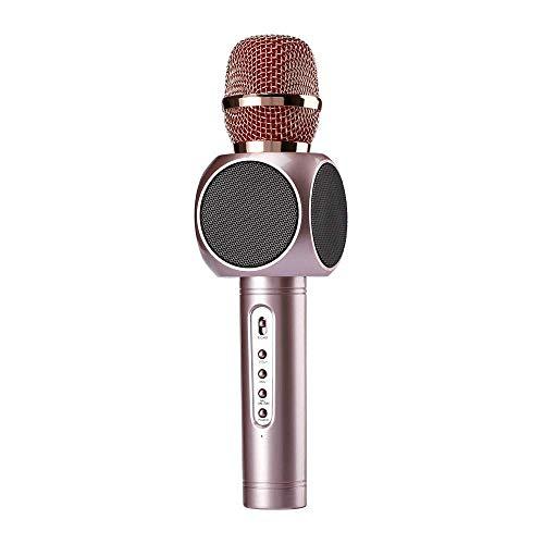 ROM Micrófono de Karaoke Micrófono de Karaoke Inalámbrico 3 en 1 Sistema de Reproductor de Karaoke Bluetooth Portátil con Dos Altavoces Integrados Compatible con Canto y Grab