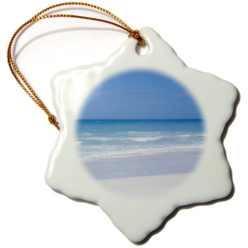 3dRose USA, Florida, Sarasota, Crescent Beach, Siesta Key - US10 BFR0126 - Bernard Friel - Snowflake Ornament, 3-inch (orn_143606_1)