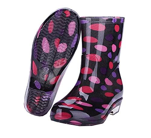 Dustpro Bottes De Pluie Fille Chaussures Imperméables Femme Pluie Femme Eau Caoutchouc Bottes Mi-Mollet Bottes De Printemps CU01 38