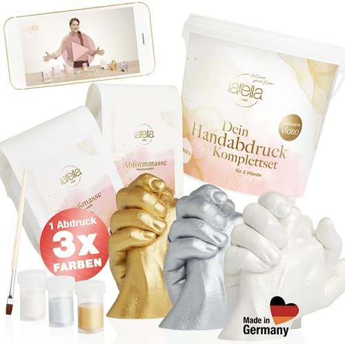 larella® 3D Handabdruck Set für Paare mit 3 Farben, MADE in GERMANY, Gipsabdruckset Hände mit Alginat, Jahrestag Geschenk für Ihn und Sie, Partner Geschenke, Pärchen...